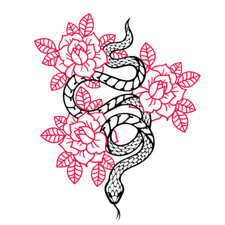 Tattoo with rose and snake. Traditional black style ink. 向量圖像