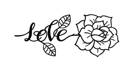 Tattoo Rose flower.Tattoo, mystic symbol with word Love 向量圖像