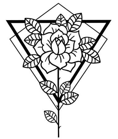 Tattoo Rose flower.Tattoo, mystic symbol. Vintage style.