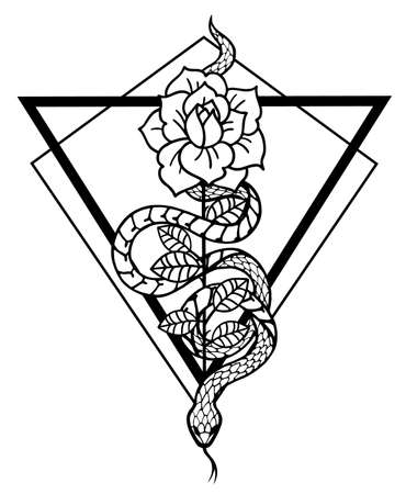 Tattoo with rose and snake with sacred geometry frame.