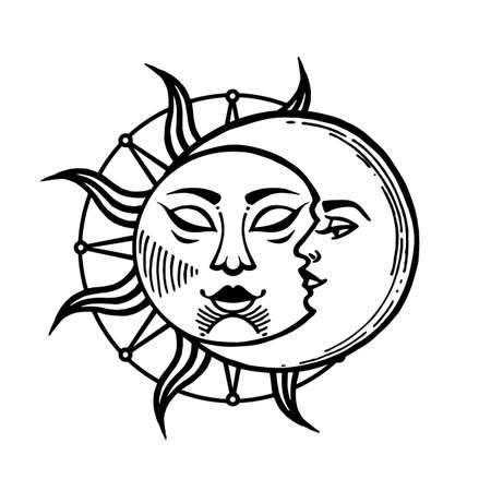 Moon and sun tattoo. Moon with face stylized as engraving.