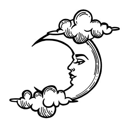 Moon tattoo. Moon with face stylized as engraving.