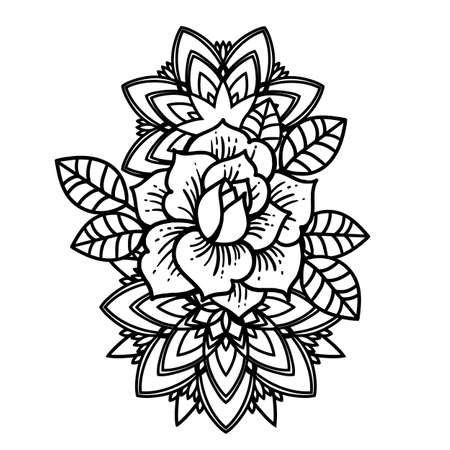 Rose Tattoo, mystic symbol. Flower with string of beads.
