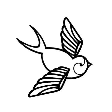 Tattoo Swallow. Beautiful vintage retro style illustration flying swallow bird. 向量圖像
