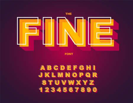 3d Bold retro font. Vintage Alphabet vector 向量圖像