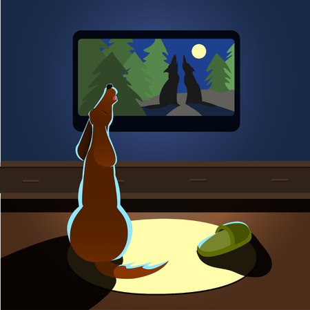 back view: Brown dog howling watches TV Vector illustration back view Illustration