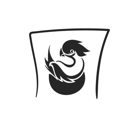 tatto: Vector bird in nest tatto symbol icon Illustration