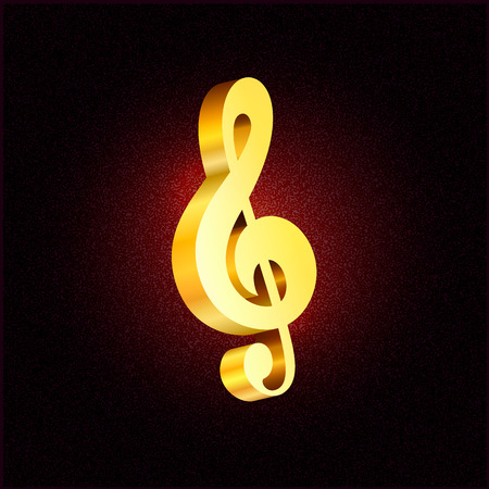 Vector gold treble clef 3D Music Day