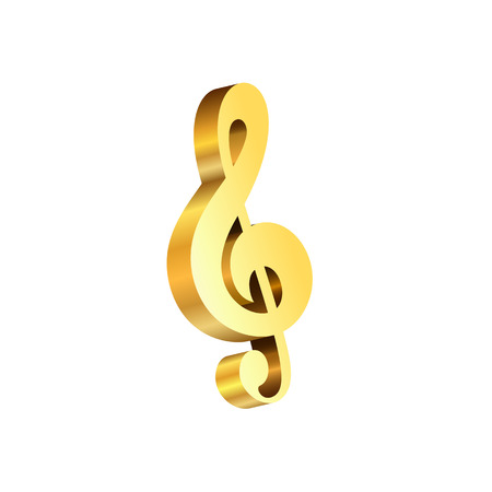 Vector gold treble clef 3D Music Day isolated on a white background