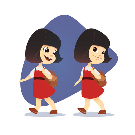 Funny asian little girl going with a backpack. Vector