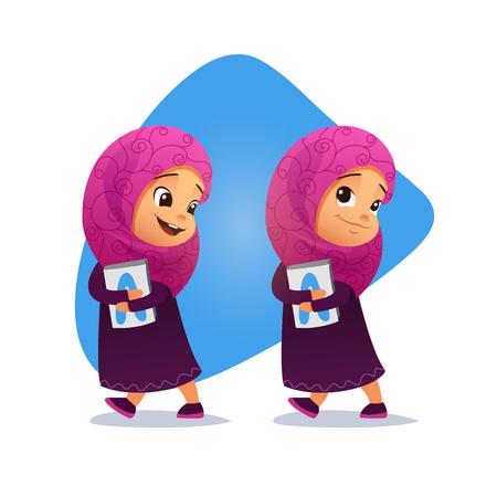 petite fille musulmane: Drôle petite fille musulmane va avec un livre. vecteur Illustration