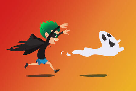 prank: Cute kid in a ghost costume pursuing a real ghost. Prank Halloween cartoon illustration. Vector.