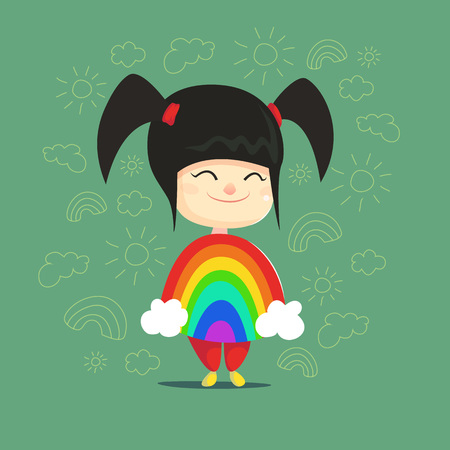 disguised: Cute little asian girl disguised as rainbow Flat Isolated Vector Image In Cartoon Style. Halloween Costume rainbow