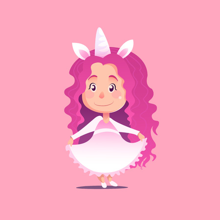 disguised: Cute little girl disguised as unicorn Flat Isolated Vector Image In Cartoon Style. Halloween Costume rainbow