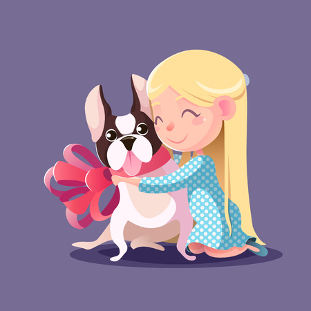 little dog: Little Girl hugging a French bulldog. Fulfilling the desires. A new friend. Illustration