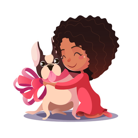desires: African American Little Girl hugging a French bulldog isolate on white background. Fulfilling the desires. A new friend.