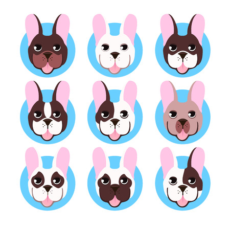 French bulldog head isolated on white background. Vector illustration set icon Illustration