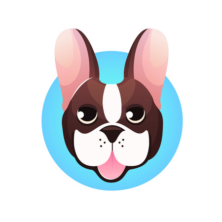 french bulldog: French bulldog head isolated on white background. Vector illustration Illustration