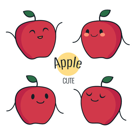 Funny cartoon red apple character with different emotions on the face. Comic emoticon stickers set. Vector icons, isolated on white. Healthy concept
