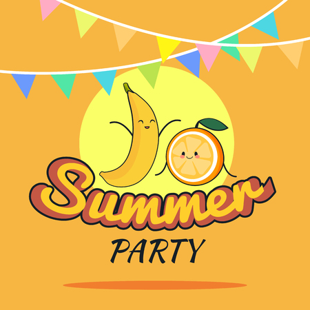 illustration of Summer Party poster cartoon design with cute banana and orange characters, Childrens postcard, Raw vegan party concept, Healthy Lifestyle Illustration