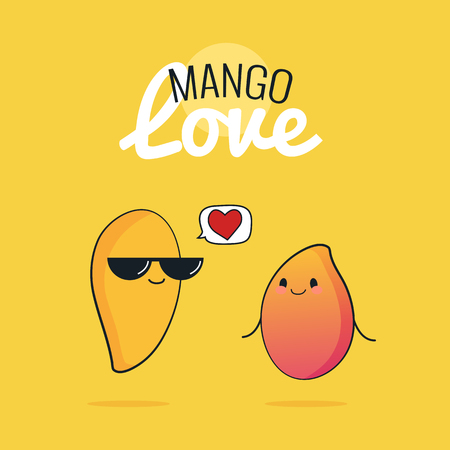 Mango cartoon characters, Cute tropical fruit couple, Vintage poster with Vector illustration, Raw Vegan love concept Illustration