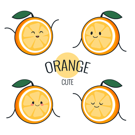 Funny cartoon orange character with different emotions on the face. Comic emoticon stickers set. Vector icons, isolated on white. Health concept