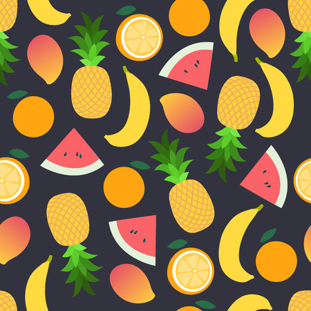 Tropical fruit pattern on dark. Bright beautiful seamless background. Vector illustration in flat. Summer cartoon background Ilustração