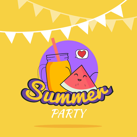 illustration of Summer Party poster cartoon design with cute watermelon characters and smoothie, Childrens postcard with fruit juice, Raw vegan party concept, Healthy Lifestyle, Yellow backgroung Illustration