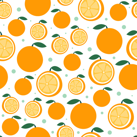 Orange fruit pattern on white. Bright beautiful citrus seamless background. Vector illustration in flat. Summer cartoon background Vettoriali