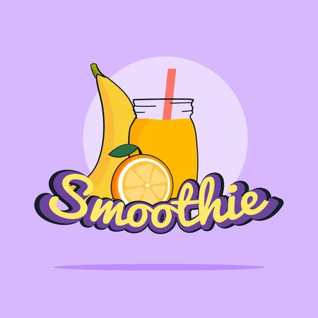 Fruits Smoothie. Banana and orange shake. Fresh drink menu, Juice for healthy life. Raw Vegan lifestyle concept.