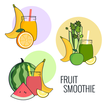 Fruit smoothie set. Banana, apple, celery, lemon and watermelon shake. Fresh drink menu, Juice for healthy life. Raw Vegan lifestyle concept.