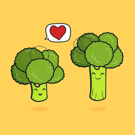 cute characters design lover for valentines day broccoli concept with vector line art, illustration husband and wife with noodle art is happiness