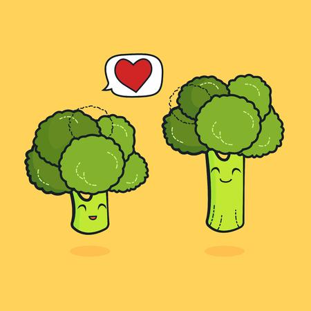 niedliche Charaktere entwerfen Liebhaber für Valentinstag Brokkoli-Konzept mit Vektor-Linienkunst, Illustration Ehemann und Ehefrau mit Nudelkunst ist Glück