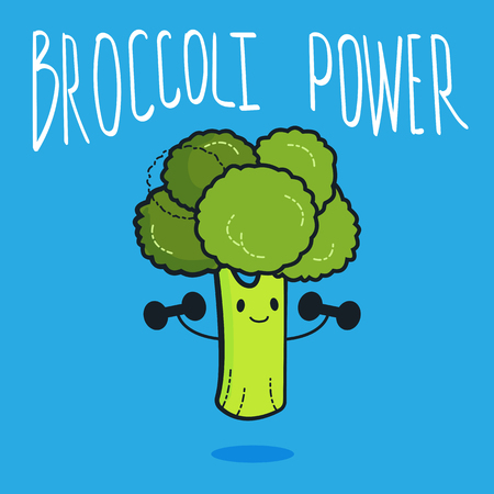 Cute broccoli cartoon character doing exercises with dumbbells. Eating healthy and fitness. Flat retro style concept illustration