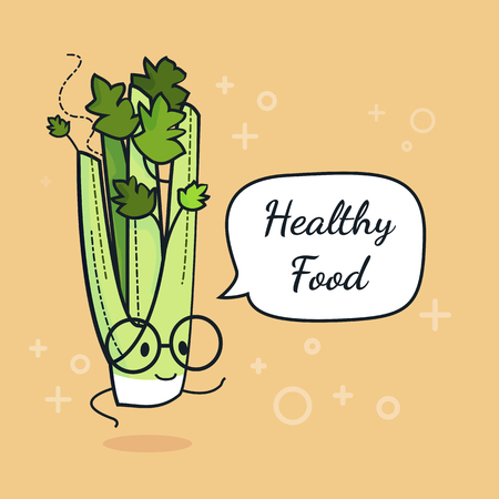 Celery with speech bubble. Balloon sticker. Cool vegetable. Vector illustration. Celery clever nerd character. Healthy food concept. Smart vegan diet poster