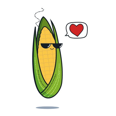 Illustration cartoon funny corn icon with black sunglasses isolated, vegan concept, corn love