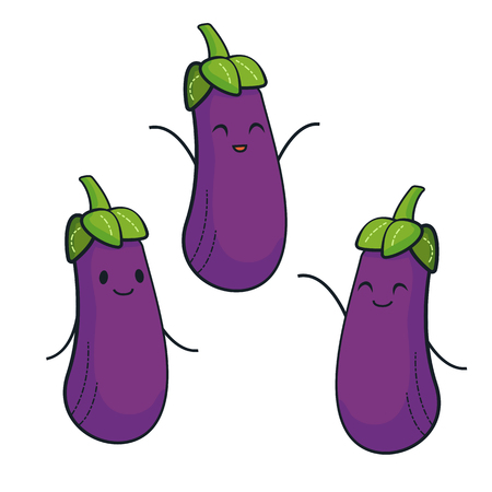 Cute eggplant characters. Vector set