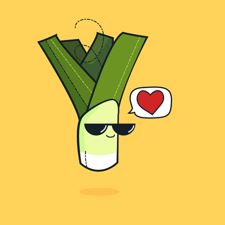 Illustration cartoon funny leek icon with black sunglasses isolated, vegan concept, leek love