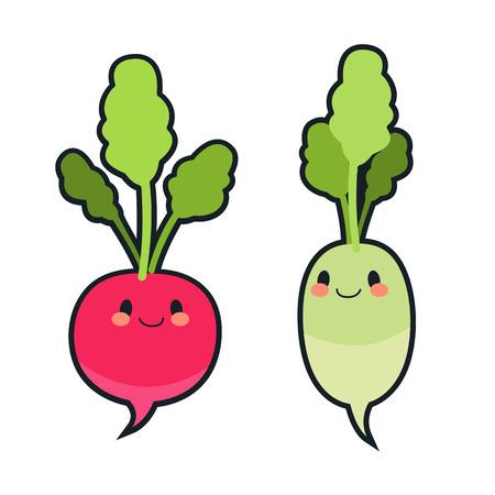 Cute radish characters Ilustração