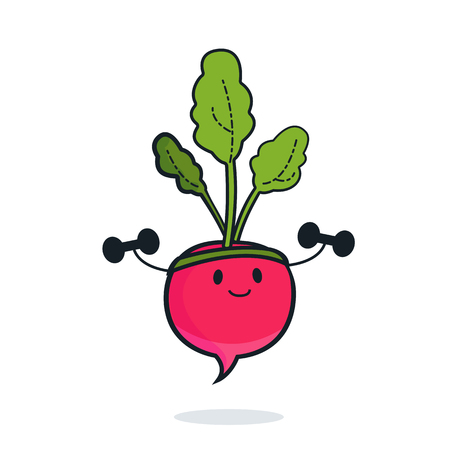 Cute radish cartoon character doing exercises with dumbbells. Eating healthy and fitness. Flat retro style concept illustration Иллюстрация