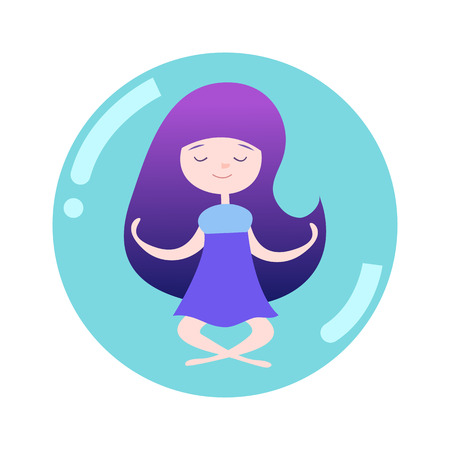 Girl meditating in soap bubble. Long space hair. Lotus posture is yoga pose. Çizim