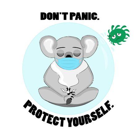koala bear. virus. do not panic. protect yourself from respiratory infection. face mask.