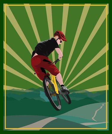 Downhill. Mountain bike. freeride. extreme sportsman. bicycle
