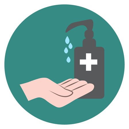 sanitizer bottle with hand, medical icon, vector flat illustration, symbols for web, apps or print Çizim