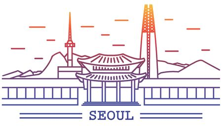 seoul city, line art with colorful background, include lotte tower, namsan tower, temple, sky tower