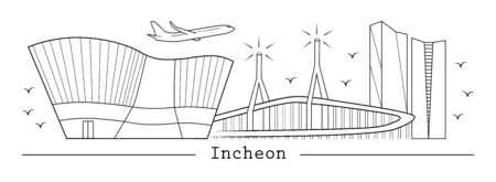 Incheon city in line art style; black and white color; Vectores