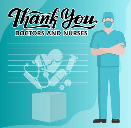 vector illustrations, health, doctor, nurses, covid-19, Thank You sign healthcare workers. appreciation to medical staff, heroes fighting on front line of coronavirus covid-19 pandemic. Ilustração