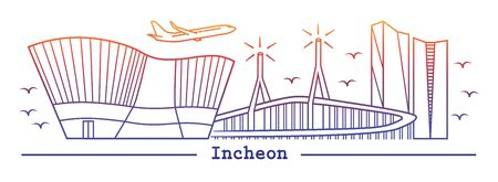 Incheon city in line art style; with color sunrise or sunset color
