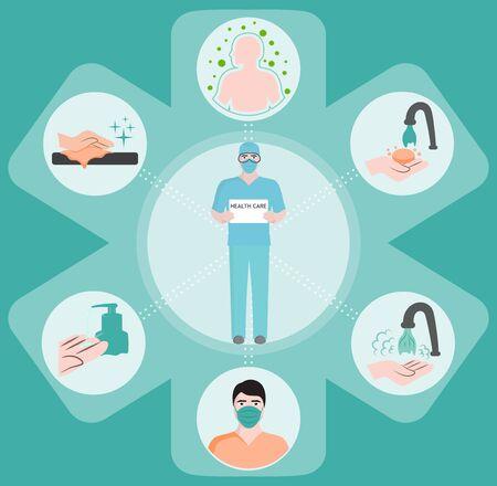 medical icons, vector flat illustration, symbols set, web. Çizim