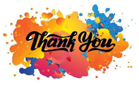 vector illustrations thank you watercolor splash, lettering, typography,